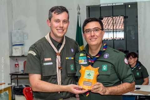 Chefe Renaldo do 4º/MG, recebendo o Troféu Bronze pela atuação da diretoria ao qual atuou de janeiro a agosto de 2018.